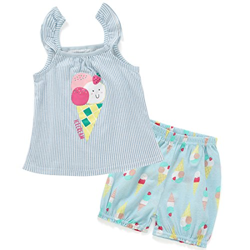 Neeseelily Baby Girls Cute Clothes Stripe Print Sleeveless Top + Bloomer Shorts 2pcs Set Outfit (3T, Blue) Le Top Bloomers