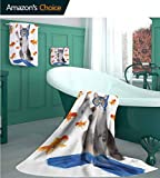 Cat Lover Decor Collection Luxury Line 3 Piece Towel Set, Modern Spin on The Term Fishing Curiosity Goldfis, 1 Bath Towels, 1 Hand Towels and 1 Washcloths - Ecologically Clean, -M Gray Golden Blue