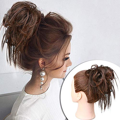 MORICA Tousled Updo Messy Bun Hair Piece Hair Extension with Elastic Rubber Band Updo Wavy Bun Extensions Synthetic Hair Extensions Scrunchies Chignons Hairpiece for Women (Color:4/30#)