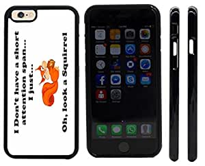 Rikki KnightTM Funny I Don't have a Short Attention Span Design iPhone 6 Case Cover (Black Rubber with front bumper protection) for Apple iPhone 6