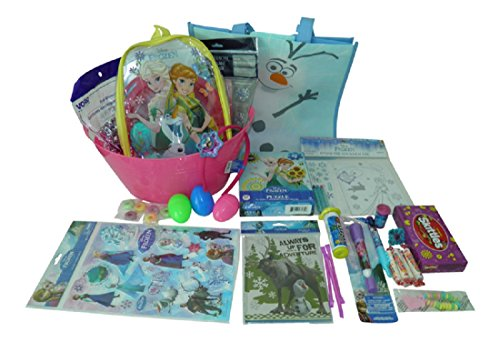[Girls Frozen 39 piece Complete Easter Bundle Basket Tote bag activities and candy] (Jelly Bean Costumes For Babies)