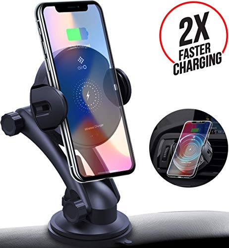 Wireless Car Charger Mount - Auto Clamping 7.5W/10W Fast Charging Qi Car Phone Holder Holder Air Vent Dashboard Compatible for iPhone Xs/Xs Max/XR/X/ 8/8 Plus, Samsung Galaxy S10 /S10+/S9 /S9+/S8