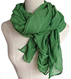 Spikerking Pure color cotton Hemp Silk scarf travel sunscreen scarf long Big scarves,Grass green