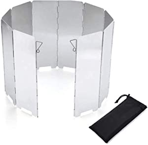 Stove Windscreen, 10 Plates Lightweight Folding Outdoor Picnic Cooker Stove Wind Screen Windshield for Camping Stove Backpacking Stove Butane Stoves Alcohol Stoves