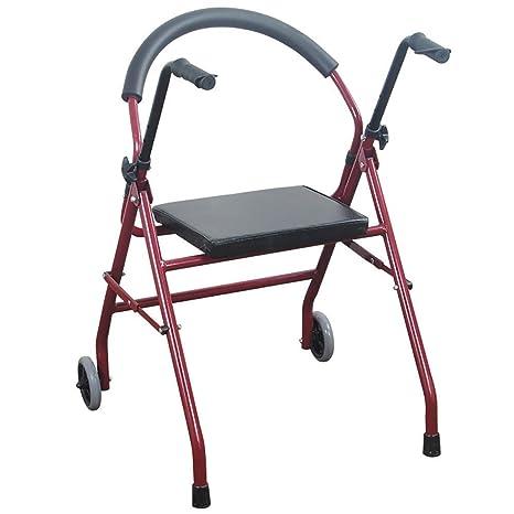 Dwhui Dos Ruedas Plegables Andador con Asiento Movilidad Andador Walker Asiento Rehabilitación Ejercicio para Adultos