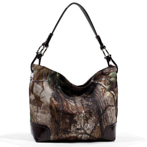 Realtree Camouflage Tote Bag Handbag with Leather Trim - Camo/Brown