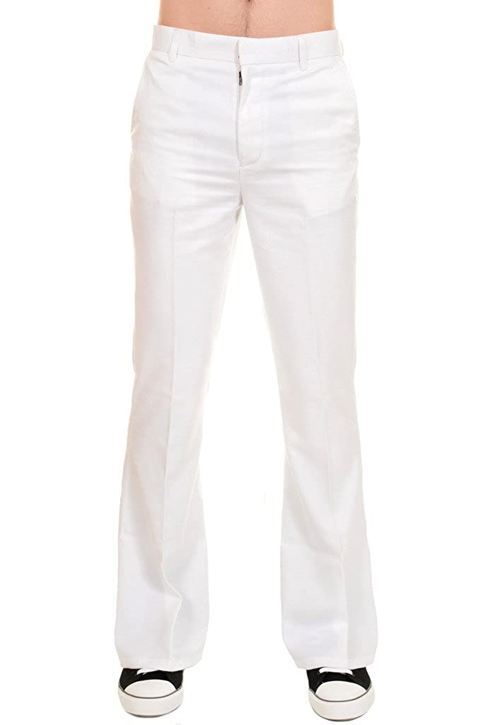 Retro Clothing for Men | Vintage Men's Fashion Run & Fly Mens 60s 70s Presley Vintage White Cotton Twill Bell Bottom Trousers $34.95 AT vintagedancer.com