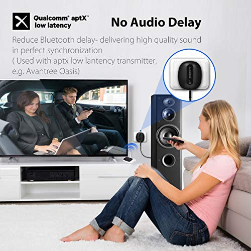 Avantree aptX Low Latency Bluetooth Receiver for Home Stereo with AC Plug,  for Speaker Theater System, Compatible with Echo (Dot), 3 5mm AUX, RCA