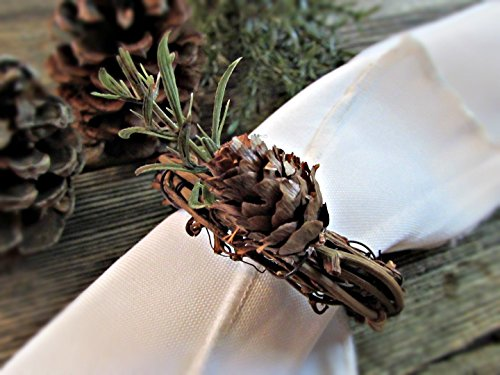 Pine Cone Napkin Rings Holders for Winter Holiday Parties and Christmas Table Decoration (Set of 4, 6, 8, 10, 12)