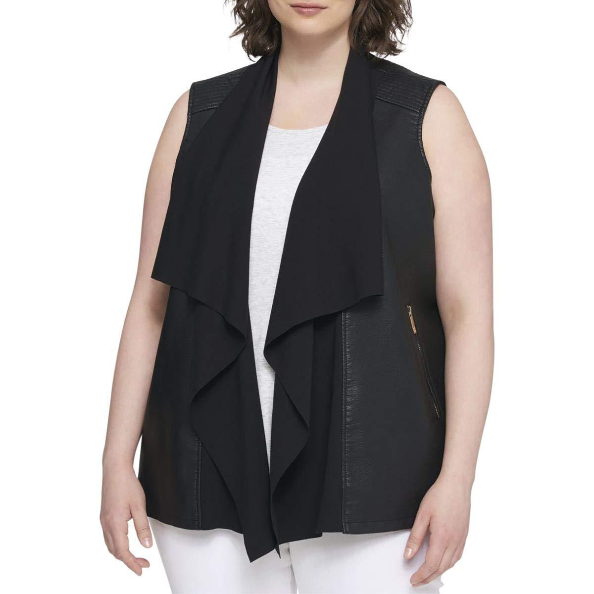 Tommy Hilfiger Womens Plus Faux-Leather Drapey Vest