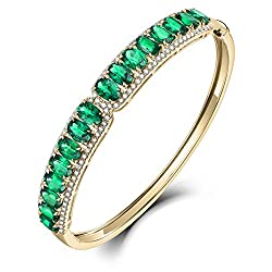 White Yellow Gold Genuine Emerald Diamond Bracelets