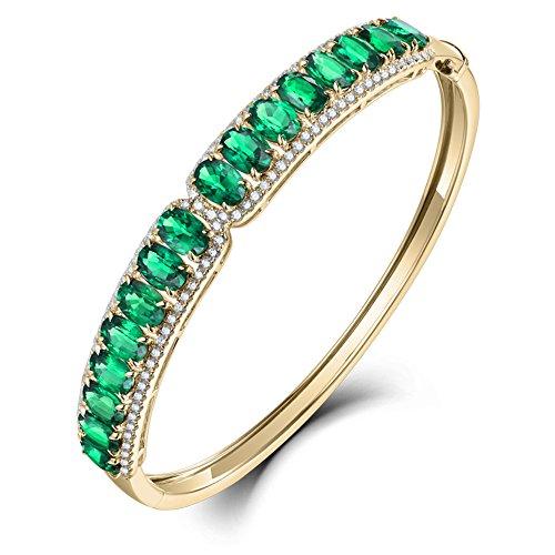 Luxury Fine Jewelry 18k/14k White Yellow Gold Brilliant Diamond Natural Green Emerald Bracelet ()