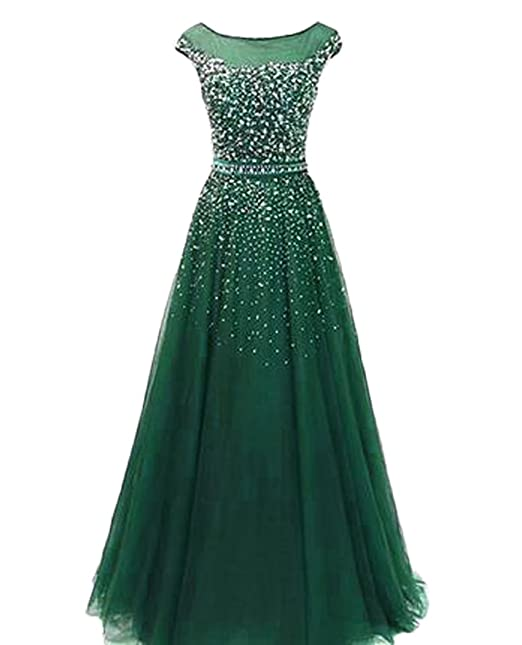 e4c917ab5ec9 QiJunGe Modest Sequin Beaded Prom Gown Floor Length Formal Evening Party  Dress Green US 2