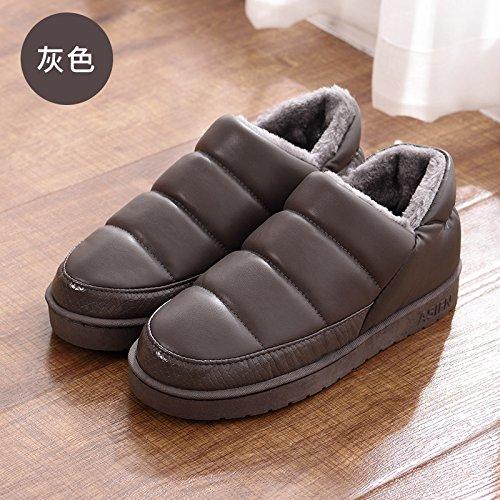 Fankou autunno e inverno pantofole di cotone borsa con il giovane home impermeabile anti-skid spessa caldo uomini e donne pantofole inverno, 37-38 montare 36-37, grigio