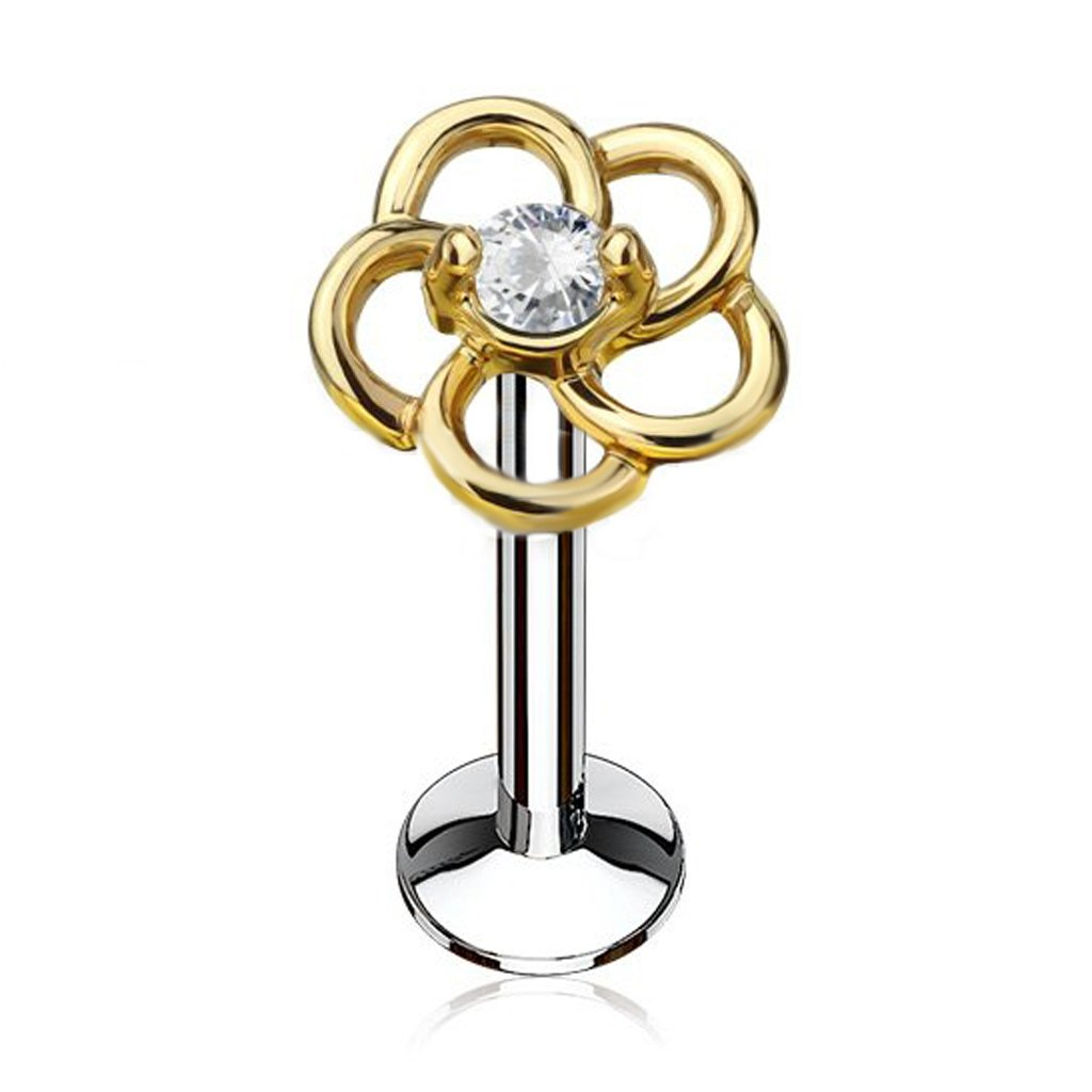 Fifth Cue 16G CZ Center Hollow Flower Top 316L Surgical Steel Internally Threaded Labret Monroe Cartilage Stud (Choose COLOR) (Gold/Steel 1/4 (6mm))