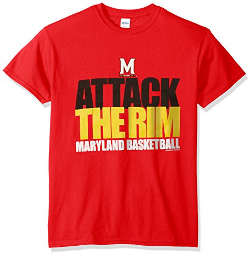 NCAA Maryland Terrapins Basketball Attack Short Sleeve Tee, Large, Red (Basketball Terps)