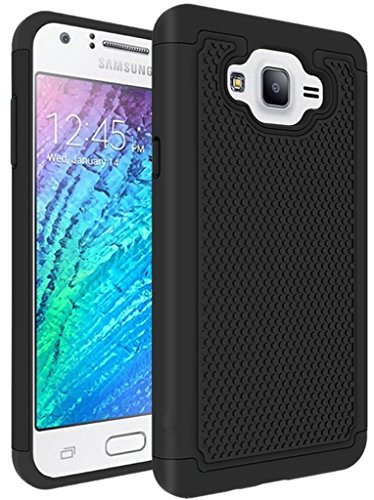 Galaxy J7 Case, NOKEA [Shock Absorption] Hybrid Armor Defender Protective Case Cover for Samsung Galaxy J7 (2015) (Black) (5 Inch Screen Phone Case)