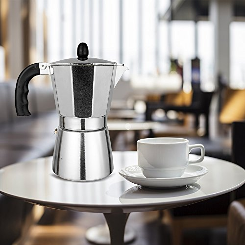 TOPHOMER Stovetop Espresso Maker - Moka Pot Coffee Maker for Gas or Electric Stove Top - 6 Cups Demitasse Espresso Shot Maker for Italian Espresso Cappuccino or Latte - Silver