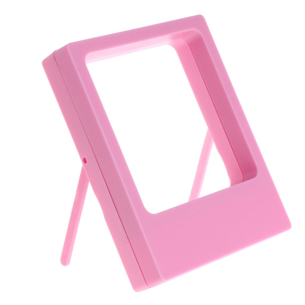 Misright透明フィルムジュエリー表示ボックスサスペンション正方形リングホルダーストレージフレーム 3.54x4.33x0.79'' ピンク B077HDGC54 ピンク