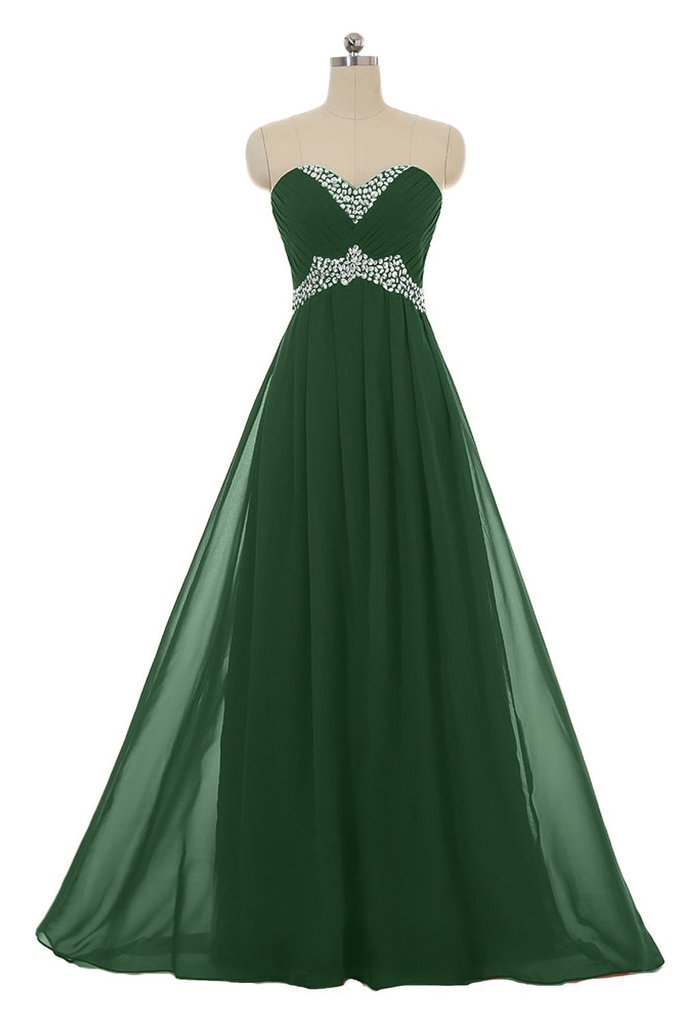 Snowskite Sweetheart Long Chiffon Beading Holiday Party Formal Prom Dress Dark Green 0