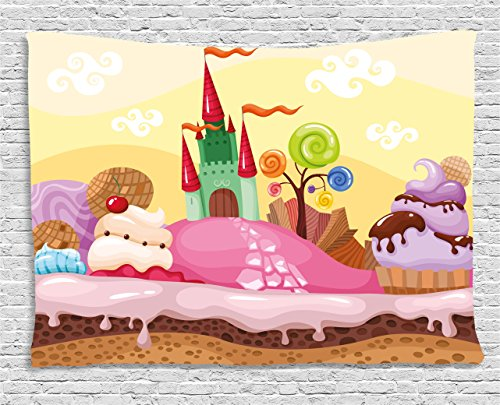 Ambesonne Cartoon Decor Tapestry, Kids Sweet Castle Landscape with Donuts Muffins Ice Cream Nursery Image, Wall Hanging for Bedroom Living Room Dorm, 80 W X 60 L Inches, Sand Brown Pink by Ambesonne