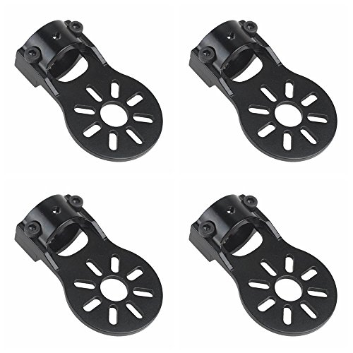 Shaluoman 4Pcs Black Aluminium Alloy Motor Mount Holder for 16mm Glass/Carbon Fiber Tube
