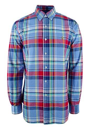 Polo Ralph Lauren Oxford Plaid Button Down L/S Shirt Red/Blue - Polo Plaid Ralph Lauren