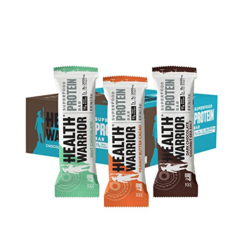 HEALTH WARRIOR Superfood Protein Bars, Sampler Pack, 3 Flavors, 1.76 Ounce, 12 Count by Health Warrior