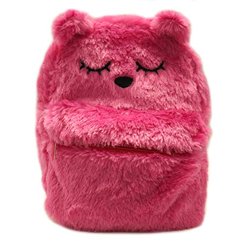 Daisy Fuentes Little Girls Backpack Kitten Design Faux Fur Material Shoulder Bag - Bright -