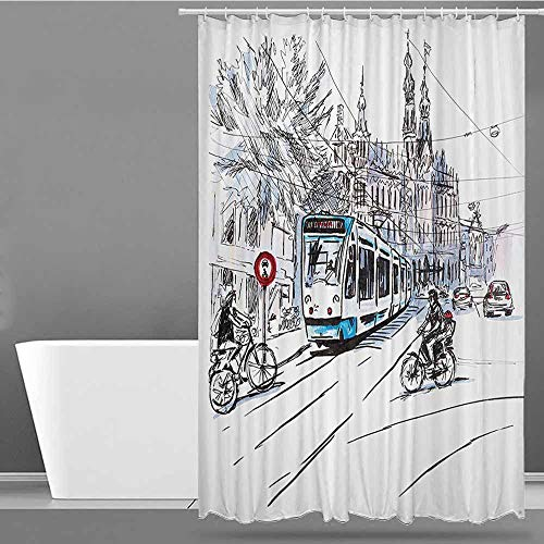 XXANS Travel Shower Curtain,Sketchy,for Master, Kid's, Guest Bathroom,W72x72L Blue Lilac White