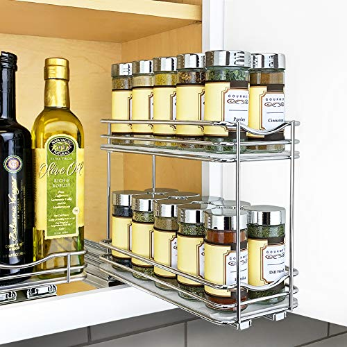 "Lynk Professional 430422DS Slide Out Double Spice Rack Kitchen Upper Cabinet Organizer, 4"", Chrome"
