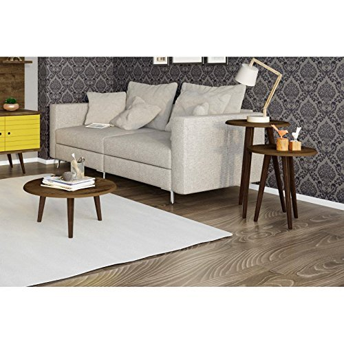 Manhattan Comfort Carmine Mid Century Modern Coffee Table Set in Rustic Brown with Solid Wood Legs - Set of 3 (206AMC9)