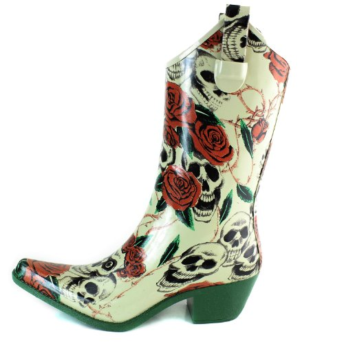 Dailyshoes Cowboy Rain Prints Rose Floral Skull Heel Boots High rS7rqdcw