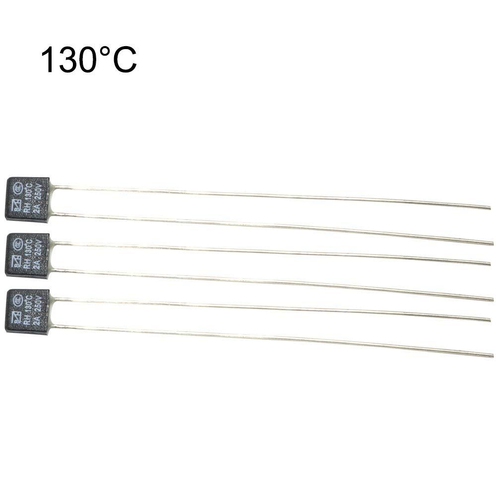 ToToT 10Pcs New RH 250V 2A 130 DegC Double Lead Temperature Control Thermal Fuse