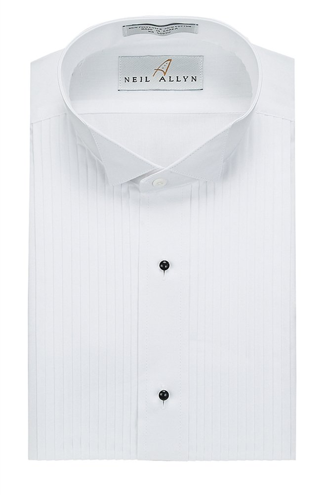 Tuxedo Shirt - Neil Allyn Wing Collar 1/4 Inch Pleat, 65% Polyester/35% Cotton (16.5 - 34/35) WHITE by Neil Allyn