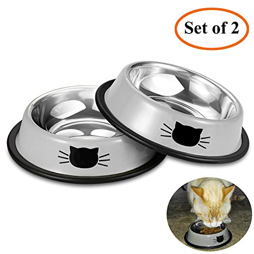 Comsmart Stainless Steel Pet Cat Bowl Puppy Dish Bowl with Cute Cats Painted Non-Skid for Small Dogs Cats (2 Pack) (Grey/Grey) (Cat Dish)