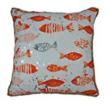 Watercolor Print Fish School Square Decorative Throw Pillow Case Cushion Cover, With Silver Splatter Dots, Jute Looped Fringe, 20''X20'', 1PC (Flame)