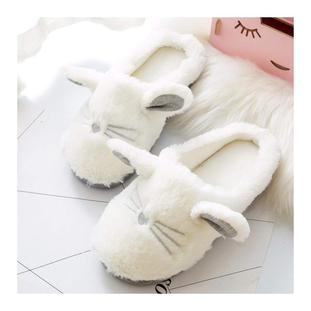 OMFGOD Slippers Femmes Automne Hiver Anti-Patinage Thermique Velours Artificielle Couture Chaussons Accueil Loisirs Intérieur Mignon Confortable 3D Cartoon Chaussures