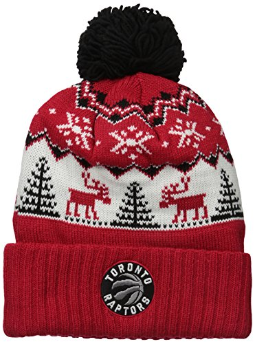 adidas Reindeer Cuffed Pom Knit,Toronto Raptors,Red,One Size by adidas