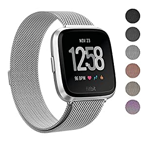 SWEES Metal Bands Compatible Fitbit Versa Smart Watch, Milanese Loop Stainless Steel Metal Replacement Accessories Small Large for Women Men, Black, Champagne, Colorful, Rose Gold, Silver, Grey