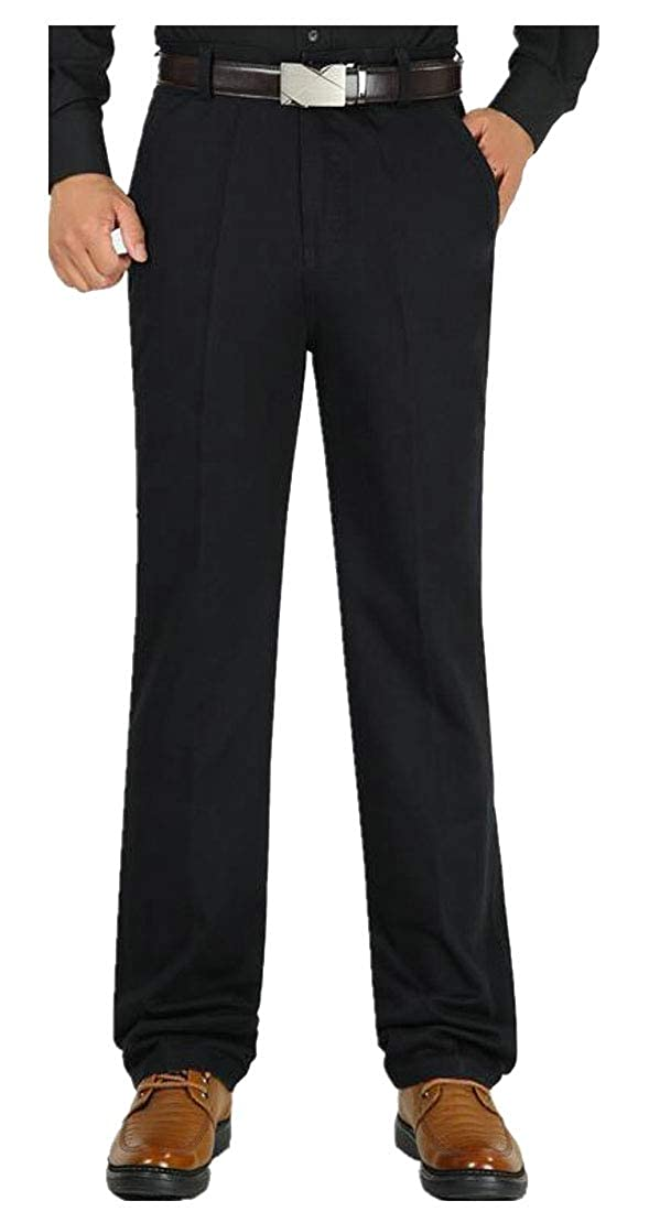 Lutratocro Mens Slim Simple Cotton Winter Thick Straight-Leg Trousers Pants