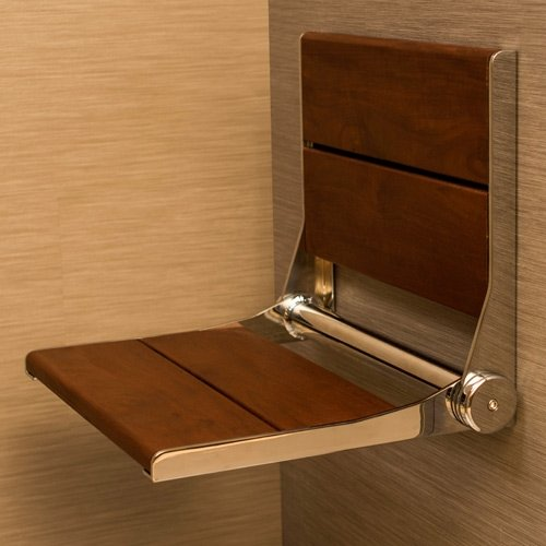 Invisia Serena Seat Fold-Away Brazilian Walnut Shower Seat Finish: Chrome HealthCraft price