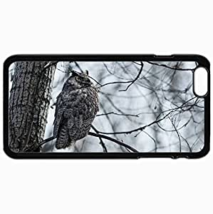 Customized Cellphone Case Back Cover For iPhone 6 Plus, Protective Hardshell Case Personalized Bird Owl Nature Black