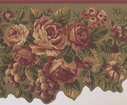 Cherry Red Flowers Peony Daisies Violet Grapes Sage Green Wallpaper Border Retro Design, Roll 15' x 10
