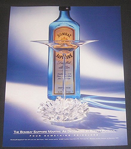 2000 Bombay Sapphire Dry Gin Martini, MAGAZINE PRINT AD, As Decorated by Andree Putman, Original Advertisement / Collectible Paper Ephemera