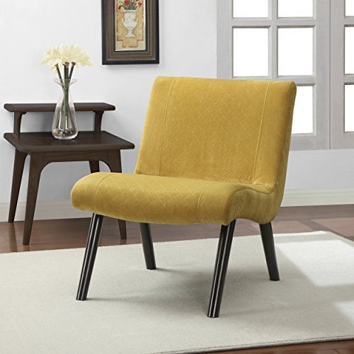 Metro Shop Quilted Mustard Yellow Upholstery Armless Chair--