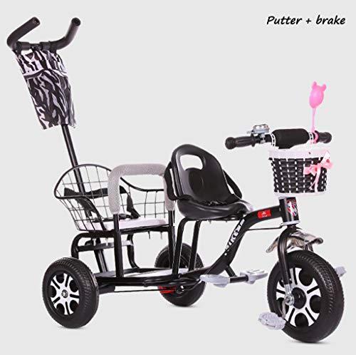 BABY CARRIAGE ZLMI Los niños de Doble Triciclo de la Bicicleta de múltiples Funciones Engrosado y agrandado del Cuerpo del...