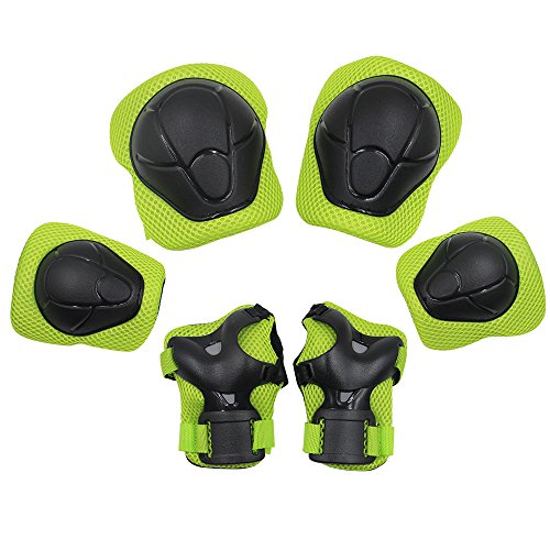 Sports Protective Gear Safety Pad Safeguard (Knee Elbow Wrist) Support Pad Set Equipment for Kids Roller Bicycle BMX Bike Skateboard Protector Guards Pads,(Green) (Rollerblading Accessories)