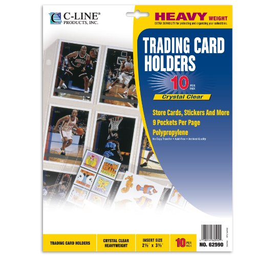 C-Line Collector's Edition Trading Card Holder Pages, Top Load, 11.25 x 9 Inches, 10 per Pack (62590) (Memory Book Top Cline)