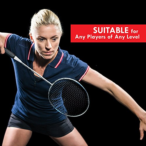 Trained Premium Quality Set of Badminton Rackets, Pair of 2 Rackets, Lightweight & Sturdy, with 5 LED SHUTTLECOCKS, for Professional & Beginner Players, Carrying Bag Included